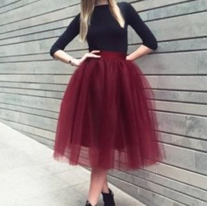 Dresses & Skirts - New Maroon Tulle Tutu Skirt Party Small